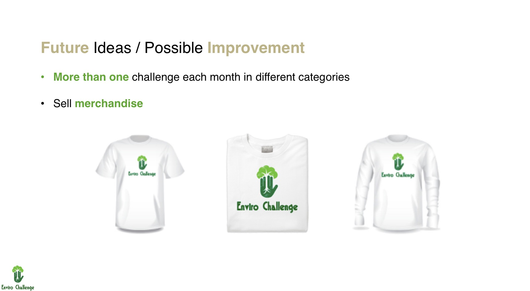 A slide from the Enviro Challenge pitch featuring merchandise ideas