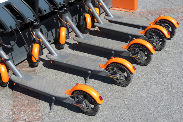 a row of scooters