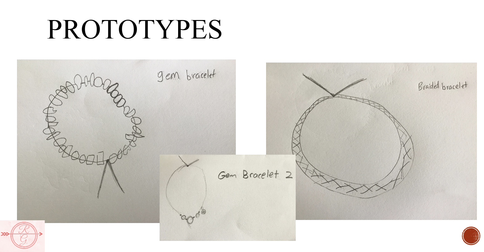 Three rough sketches of the three prototype bracelets are shown.