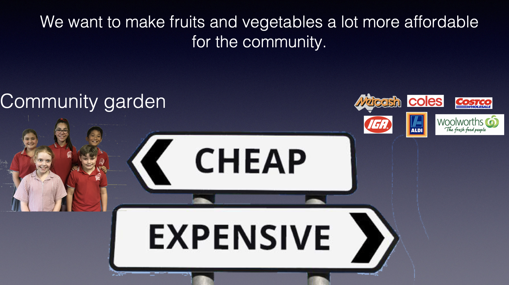 The problem statement - a lack of affordable fruit and vegetables for the local community.