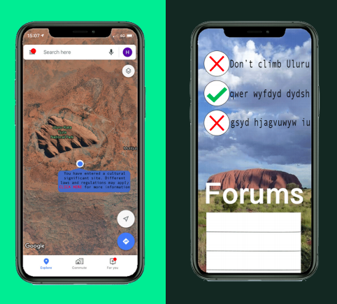 two wireframe prototypes for the app