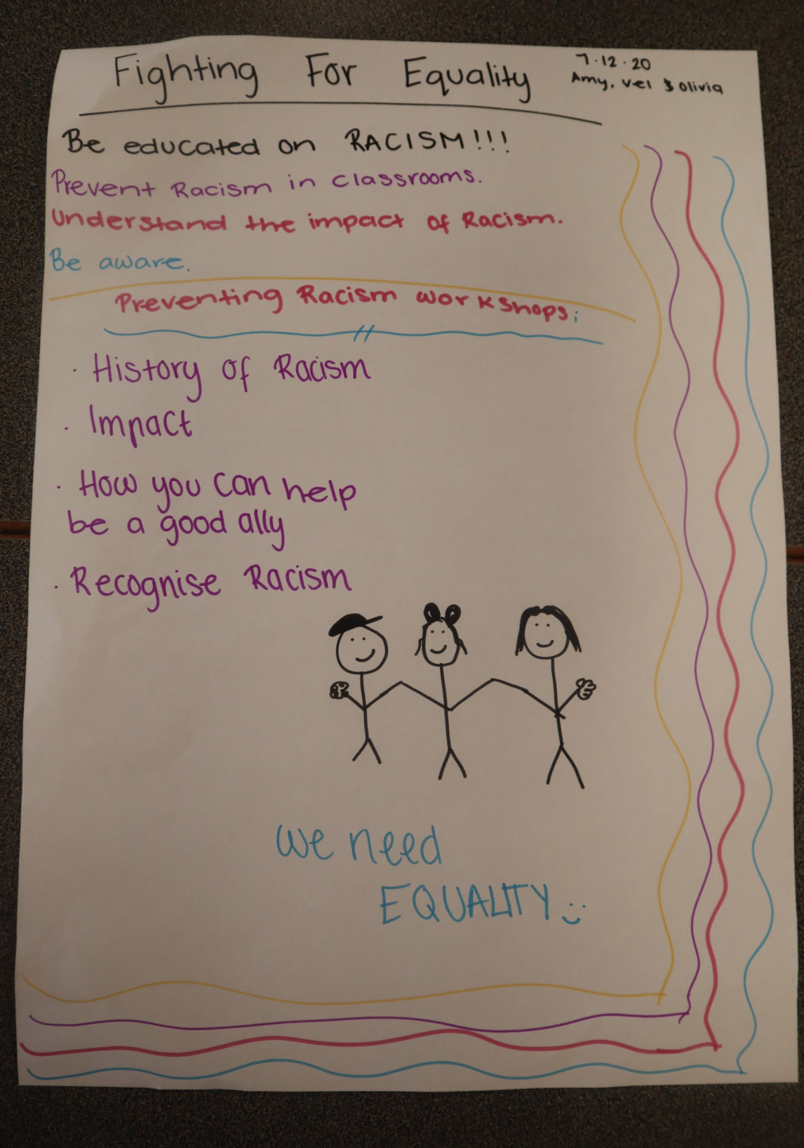 A poster detailing the contents of the racism workshop.