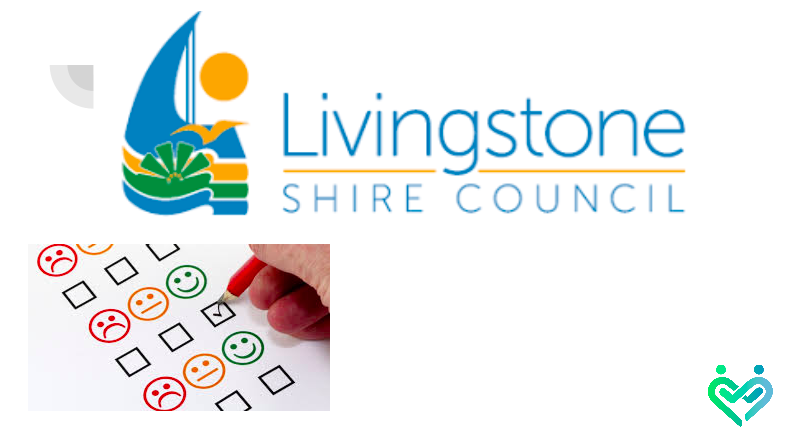 the livingstone shire council logo as well as an image of a survey sheet being filled out with a pencil